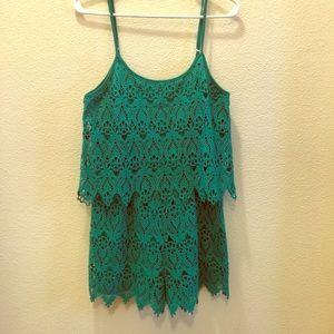 Kelly green crocheted romper